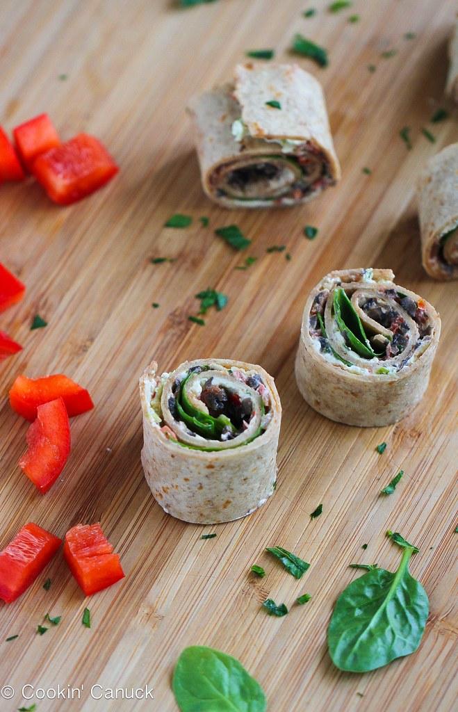 Vegetarian Pesto & Olive Pizza Roll-Ups Recipe | cookincanuck.com