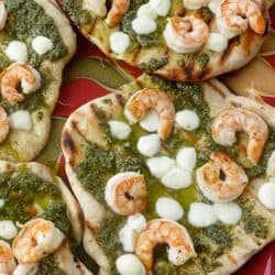 Grilled Shrimp & Pesto Pizza