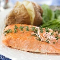 Baked Trout (or Salmon) with Honey-Thyme Glaze Recipe | cookincanuck.com