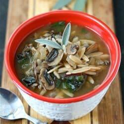 Healthy Mushroom, Orzo & Swiss Chard Soup Recipe {Vegetarian} & Marathon Update | cookincanuck.com