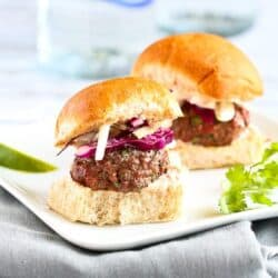 Lean Grilled Hamburger Sliders Recipe with Hot Sauce Slaw | cookincanuck.com