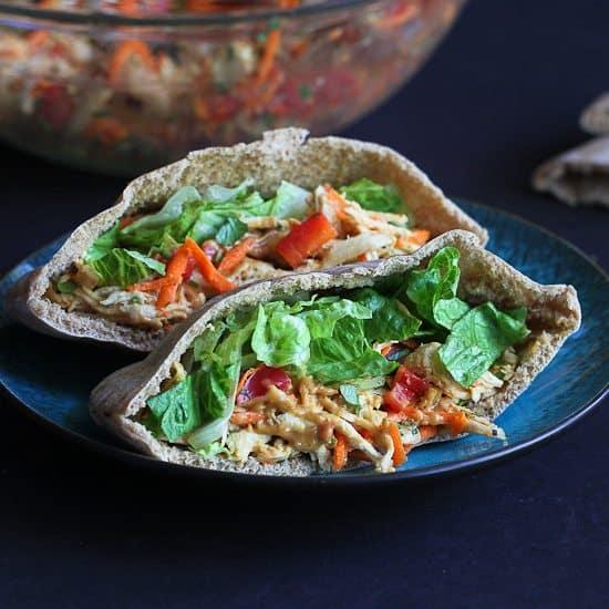 Thai Chicken Pita Sandwich Recipe with Peanut Sauce