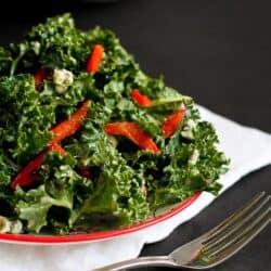 Chopped Kale Salad Recipe with Gorgonzola & Dijon Yogurt Dressing | cookincanuck.com