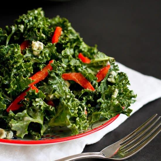 Chopped Kale Salad Recipe with Gorgonzola & Dijon Yogurt Dressing