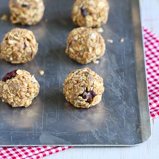 No-Bake Cherry Almond Granola Bites {Low Sugar, Gluten-Free}