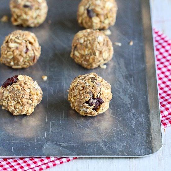 No-Bake Cherry Almond Granola Bites {Low Sugar, Gluten-Free}