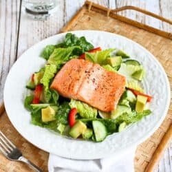 Salmon & Avocado Salad Recipe with Miso Lime Dressing