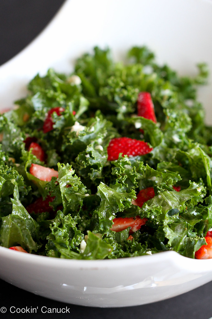 Strawberry & Kale Salad Recipe with Feta Cheese   cookincanuck.com #kale #vegetarian