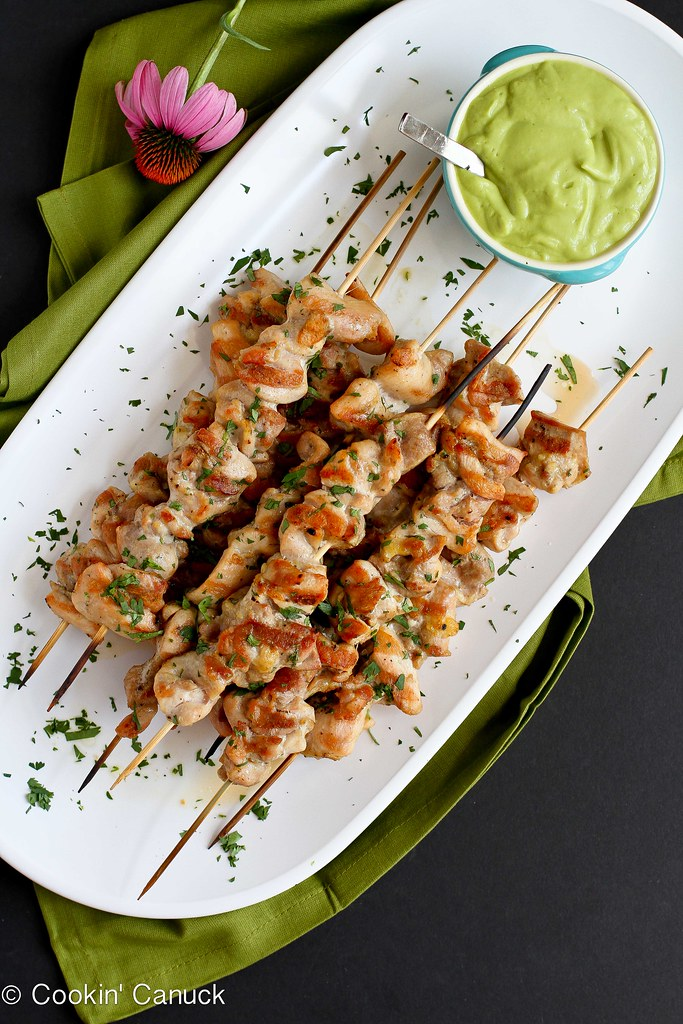 Spiced Chicken Skewers with Avocado Chile Coconut Sauce Recipe | cookincanuck.com #healthy #entertaining