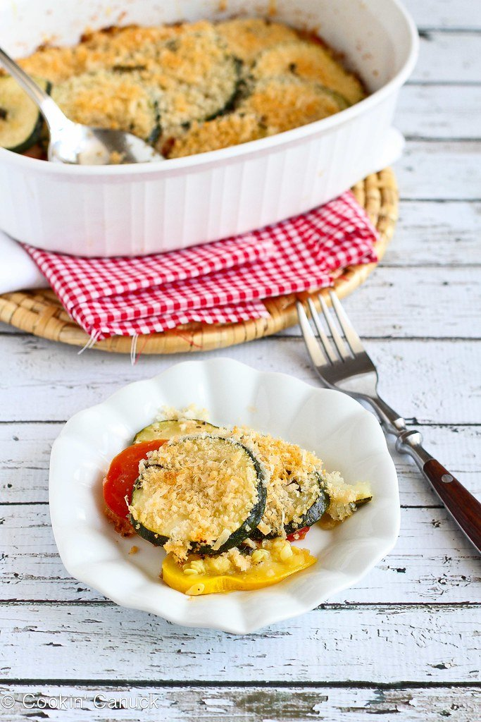 Healthy Zucchini, Tomato and Yellow Squash Gratin Recipe | cookincanuck.com #vegetarian #MeatlessMonday