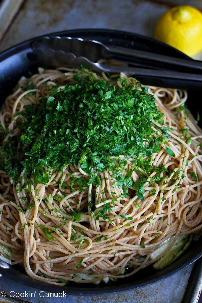 Zucchini, Capers & Garlic Whole Wheat Pasta Recipe | cookincanuck.com #cleaneating #vegetarian