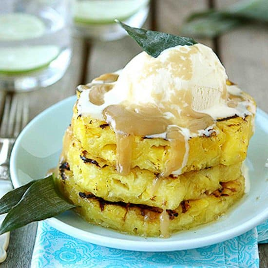 Grilled Pineapple with Brown Sugar Rum Sauce Recipe