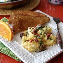 Scrambled Egg Recipe with Turkey Sausage, Sun-Dried Tomatoes & Basil | cookincanuck.com