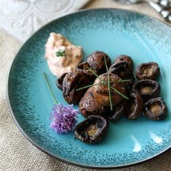 Grilled Mushrooms with Smoked Paprika & Chive Dipping Sauce Recipe | cookincanuck.com