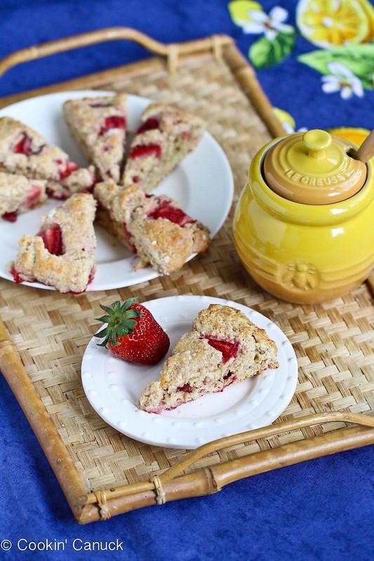 Strawberries & Cream Scone Recipe for Mother's Day {Healthy}   cookincanuck.com #recipe
