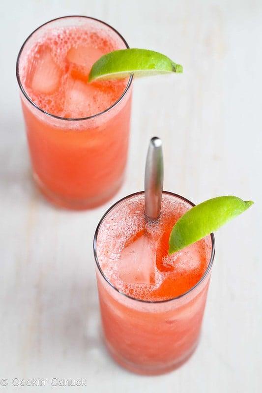 Fresh Strawberry & Lime Tom Collins Cocktail Recipe | cookincanuck.com #cocktail