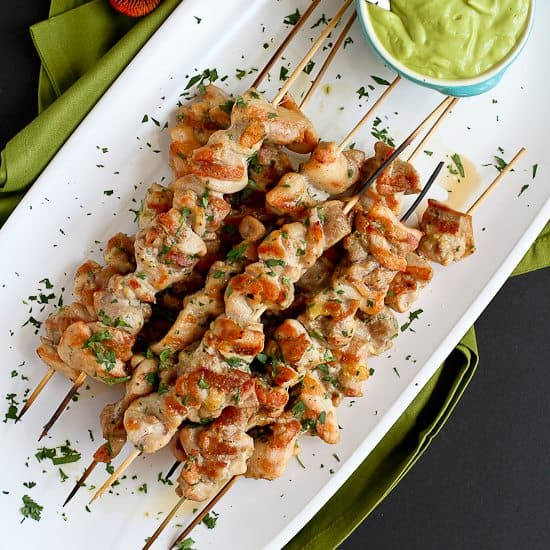 Spiced Chicken Skewers with Avocado Chile Coconut Sauce Recipe + Summer Entertaining