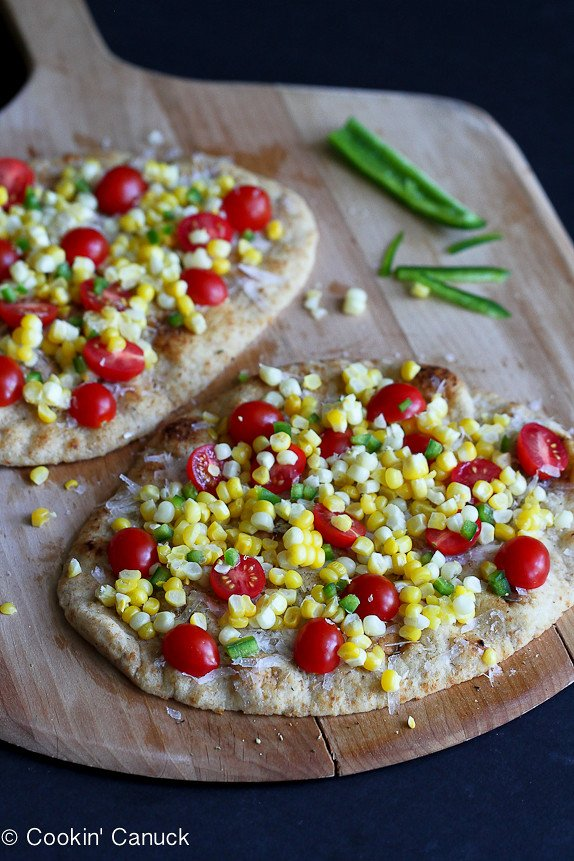 Summer Harvest Naan Pizza Recipe with Corn, Tomatoes & Jalapeño...Amazing flavors of summer in less than 20 minutes. | cookincanuck.com #vegetarian #MeatlessMonday