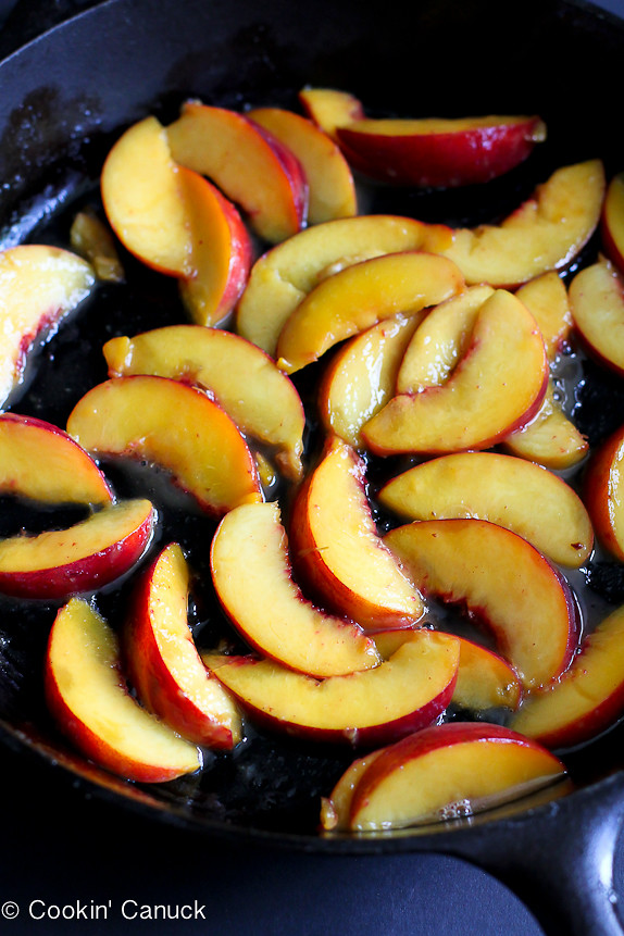 Baked Whole Wheat Peach Pancake...Capture the flavor of summer in this easy brunch recipe.   cookincanuck.com #healthy #vegetarian