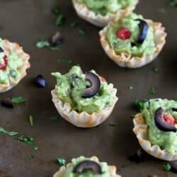 Mini Guacamole & Olive Cups Recipes {Healthy Snack} | cookincanuck.com