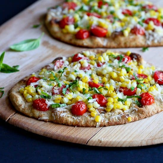Summer Harvest Naan Pizza Recipe with Corn, Tomatoes & Jalapeño