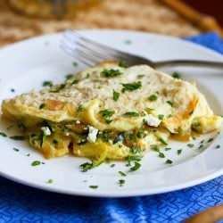 Zucchini, Onion and Feta Cheese Omelet Recipe | cookincanuck.com
