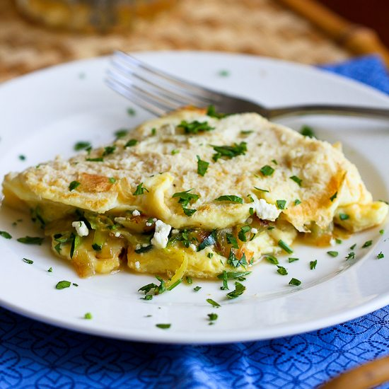 Zucchini, Onion and Feta Cheese Omelet Recipe