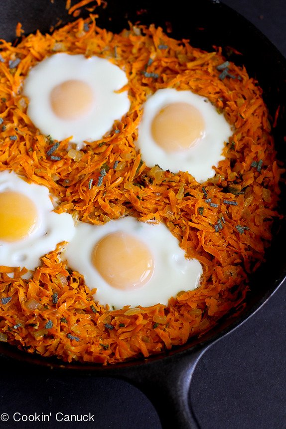 Sweet Potato Hash with Baked Eggs...Perfect for Meatless Monday or weekend brunch. 157 calories and 4 Weight Watchers PP | cookincanuck.com #vegetarian #gluten-free