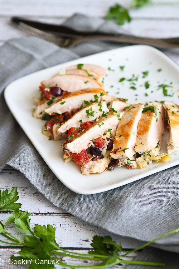 Antipasto Stuffed Chicken Breasts...No more boring chicken breasts! 251 calories and 6 Weight Watcher PP | cookincanuck.com #recipe #healthy #glutenfree