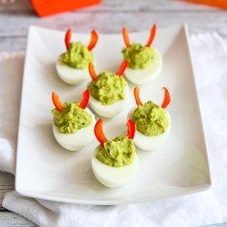 Devilish Avocado Sriracha Deviled Eggs Recipe | cookincanuck.com