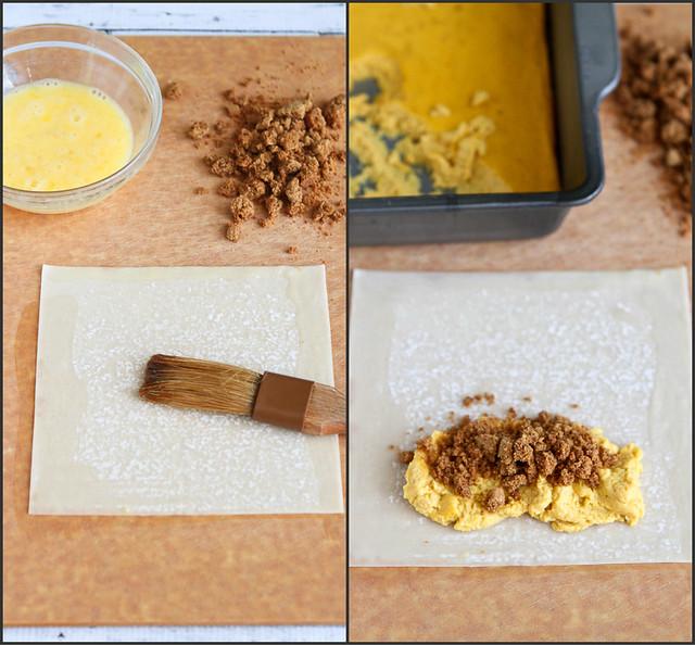 Baked Pumpkin Pie Egg Rolls...A fun take on a traditional Thanksgiving dessert! 161 calories and 5 Weight Watchers SmartPoints #recipe #pumpkin #lactosefree