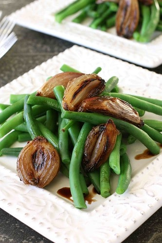 Green Beans with Balsamic Roasted Shallots Recipe | cookincanuck.com #Thanksgiving
