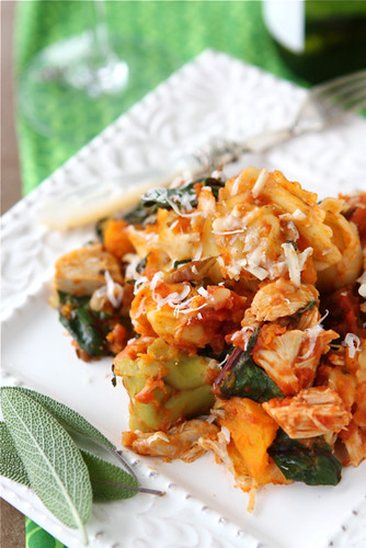 Baked Tortellini with Turkey, Butternut Squash & Chard...A fantastic way to use up leftover turkey or chicken! | cookincanuck.com #pasta