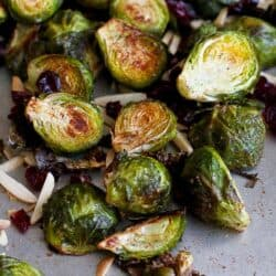 Cinnamon Roasted Brussels Sprouts with Toasted Almonds | cookincanuck.com