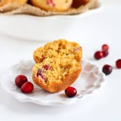 Healthy Cranberry Orange Cornmeal Muffins