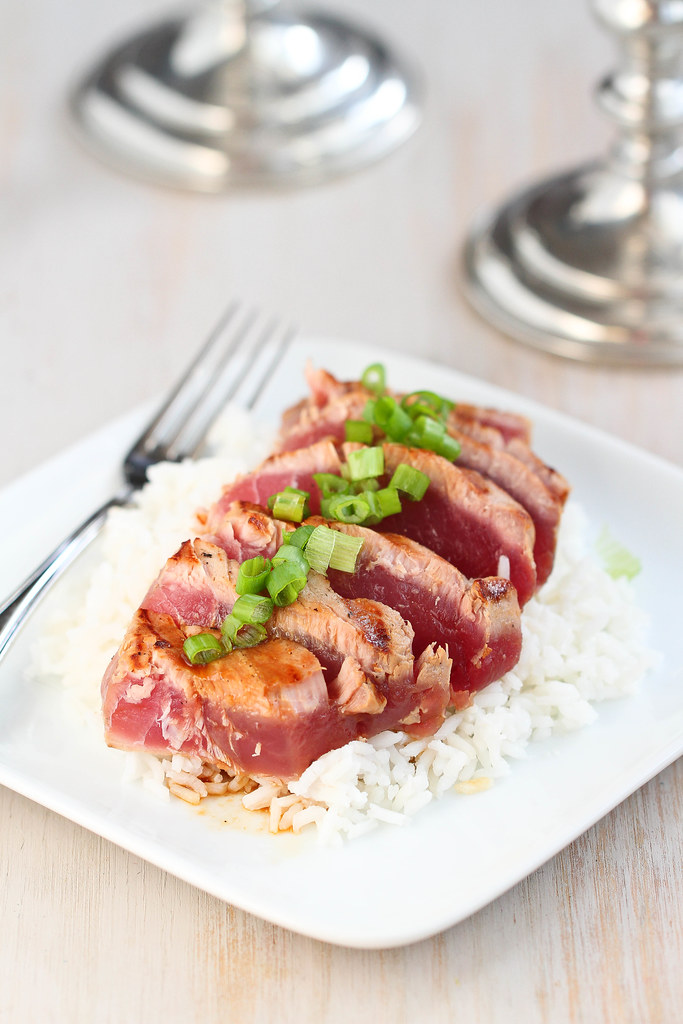 Grilled Soy-Ginger Ahi Tuna Recipe | cookincanuck.com #healthy #ValentinesDay