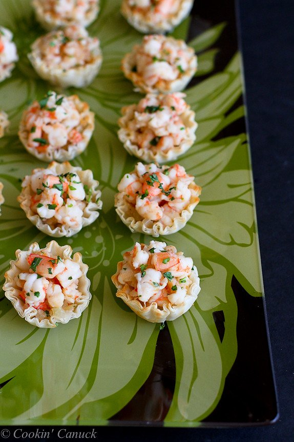 Mini Sherry Shrimp & Tarragon Phyllo Bites...Wonderful, savory flavors in one little bite. | cookincanuck.com #appetizer #recipe