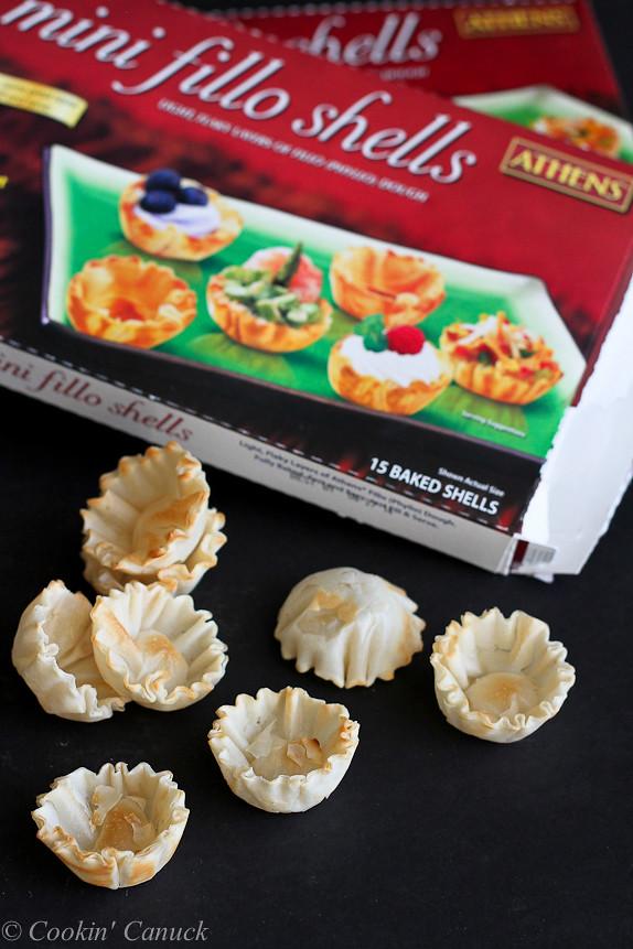 Mini Sherry Shrimp & Tarragon Phyllo Bites...Wonderful, savory flavors in one little bite. | cookincanuck.com #appetizer #recipe