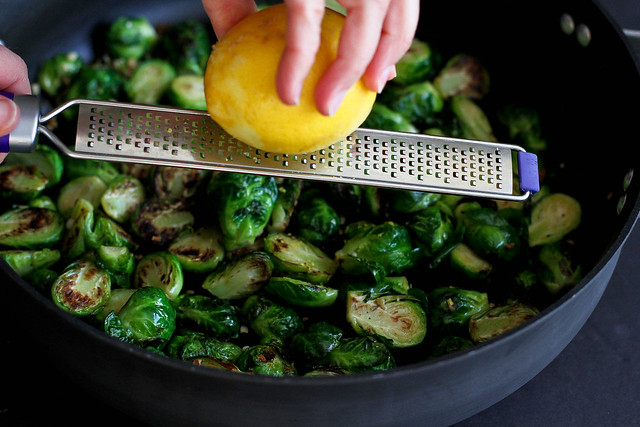 Sautéed Lemon & Garlic Brussels Sprouts Recipe...An easy, delicious side dish! | cookincanuck.com #healthy
