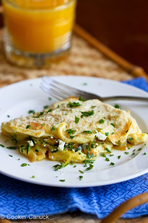 Zucchini, Onion and Feta Cheese Omelet Recipe...Tons of flavor in less than 20 minutes! | cookincanuck.com #vegetarian #MeatlessMonday #breakfast