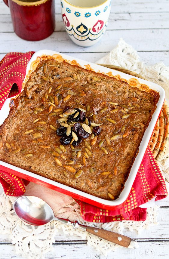 Baked Steel Cut Oatmeal with Tart Cherries and Pepitas...A hearty, healthy breakfast with 211 calories and 5 Weight Watcher PP.   cookincanuck.com #fiber