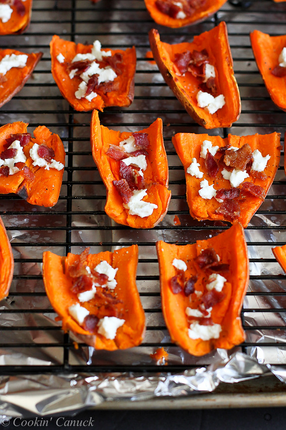 Light Sweet Potato Skins with Bacon & Goat Cheese...A healthy game day recipe! 87 calories & 2 Weight Watcher PP | cookincanuck.com