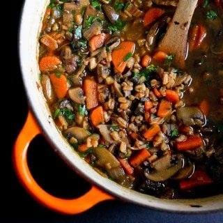 Hearty Mushroom, Farro & Ginger Soup {Whole Grains Challenge}
