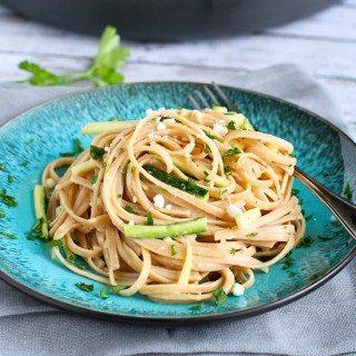 Hummus Linguini with Zucchini {Exercise Challenge}