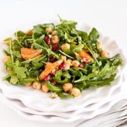 Pomegranate, Clementine, Herbed Chickpea & Arugula Salad | cookincanuck.com