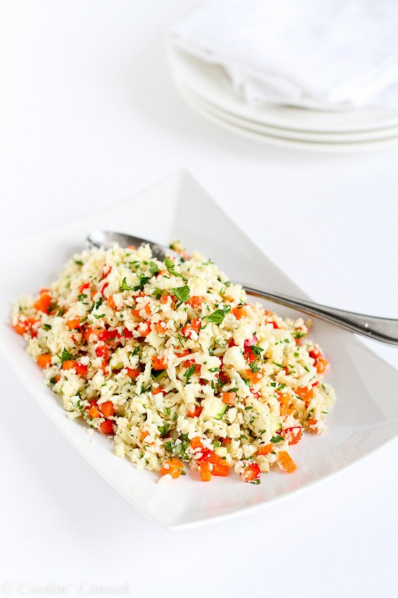Grated Cauliflower Salad with Ginger Lime Dressing...This vegan salad pops with flavor! 100 calories and 3 Weight Watcher PP | cookincanuc.com #recipe