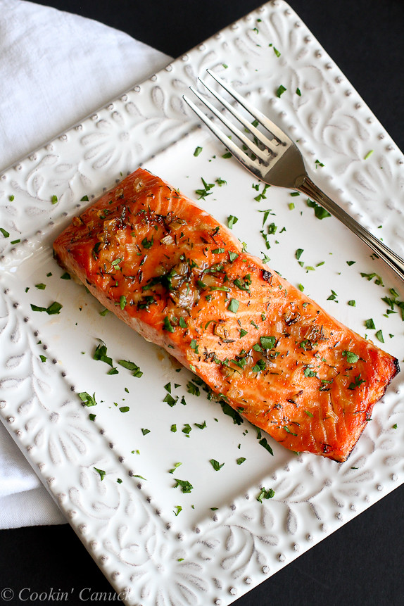 Maple Dijon Baked Salmon...A flavorful, healthy and easy dinner recipe. You're going to love this one! 237 calories and 2 Weight Watchers SmartPoint