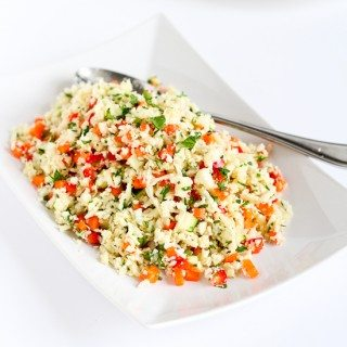 Grated Cauliflower Salad with Ginger Lime Dressing
