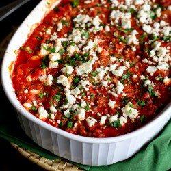 Greek Turkey, Rice & Feta Casserole | cookincanuck.com