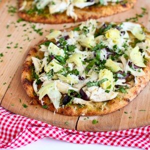 Chicken Pesto Artichoke Naan Pizza | Cookin' Canuck